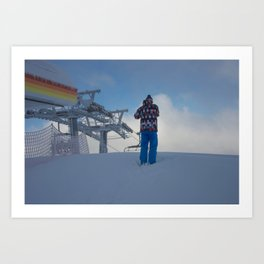 ski orange yellow Art Print