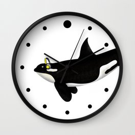 Killer Whale Headphones Wall Clock