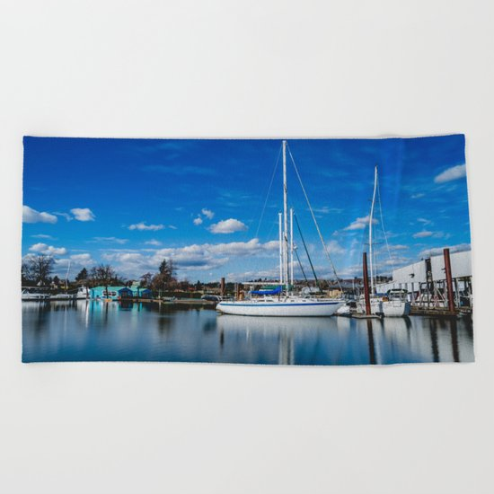 Columbia River Boat Reflection Beach Towel
