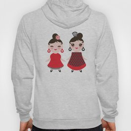 Spanish Woman flamenco dancer. Kawaii cute face with pink cheeks and winking eyes. Gipsy girl Hoody