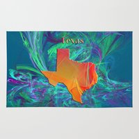 texas Area & Throw Rugs featuring Texas Map by Roger Wedegis