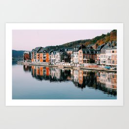 VILLAGE - HOUSE - RIVER - REFLECTION - PHOTOGRAPHY Art Print