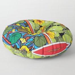 Nasturtium Art Nouveau Flower Tiles Floor Pillow