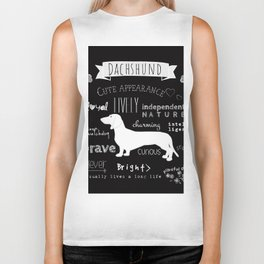 Dachshund black and white Biker Tank