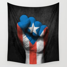 Puerto Rican Flag on a Raised Clenched Fist Wall Tapestry