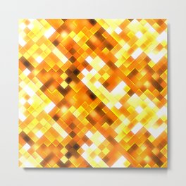 Golden Yellow Bright Squares Pattern Metal Print