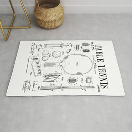 Table Tennis Ping Pong Old Vintage Patent Drawing Print Rug
