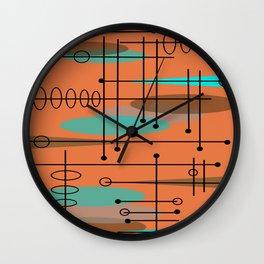 Atomic Era Inspired Dark Orange Wall Clock