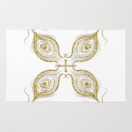 Golden feathers decoration Rug