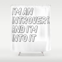 introvert Shower Curtains featuring Introvert by BMaw