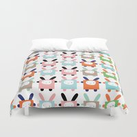 bunnies Duvet Covers featuring bunnies by PETITE PATATE