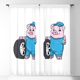 Pig as Car mechanic with Tires Blackout Curtain