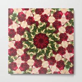 Old Red Rose Kaleidoscope 10 Metal Print