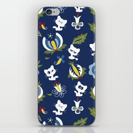 Cat with Ethnic Folk Flower iPhone Skin