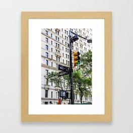 New York Traffic Lights & Signs at Wall Street / Broadway Junction Framed Art Print