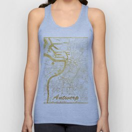 Antwerp Map Gold Unisex Tank Top