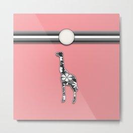 Giraffe Pink Floral Stripes Pattern Animal Design Metal Print
