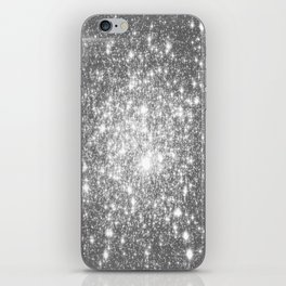 Silver Gray Galaxy Sparkle Stars iPhone Skin