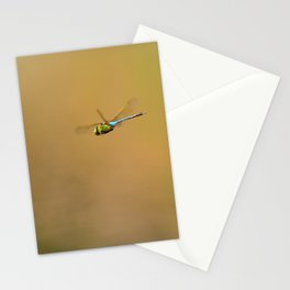 Green and blue Dragonfly in mid air Stationery Cards