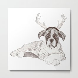 Boxer Puppy First Xmas Metal Print