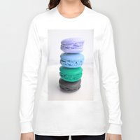 macaroons Long Sleeve T-shirts featuring macarons / macaroons by Whimsy Romance & Fun