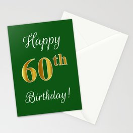 """Elegant """"Happy 60th Birthday!"""" With Faux/Imitation Gold-Inspired Color Pattern Number (on Green) Stationery Cards"""