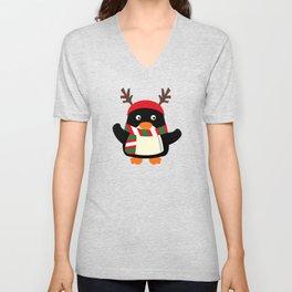Christmas Penguin Winter Scarf Antlers Unisex V-Neck