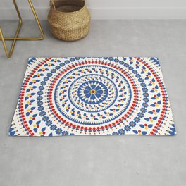 Floral Mandala Blue and Red colour Palette Rug