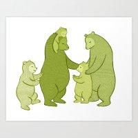Bear family of Five Art Print