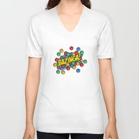 bazinga V-neck T-shirts featuring Bazinga! by Skeleton Jack