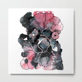 alcohol ink - posca flowers Metal Print