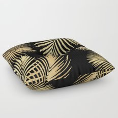 Gold Palm Leaves on Black Floor Pillow