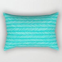 Turquoise Small Herringbone Rectangular Pillow