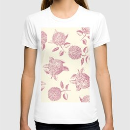 Big lush hydrangea flowers on off-white background seamless pattern. Pale pink. Atemporal, classic. T-shirt
