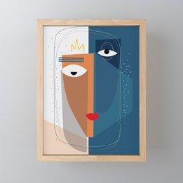 Faceless figuratif abstract line illustration Framed Mini Art Print