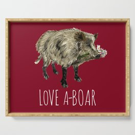 Love a-boar in Red Serving Tray
