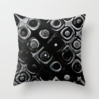 queens of the stone age Throw Pillows featuring Stone Age Abstract Art by GothicToggs