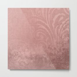 Modern rose gold grunch design with floral ornaments Metal Print
