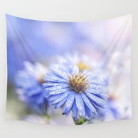 biology Wall Tapestries featuring Blue Aster in LOVE  by UtArt
