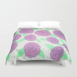 Purple Rose Pattern Duvet Cover