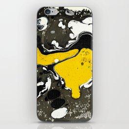 Marble Ink Yellow Black White iPhone Skin