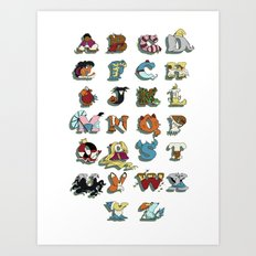 The Disney Alphabet - White Background Art Print