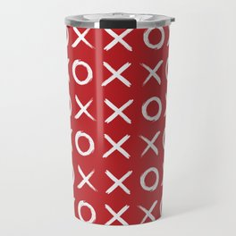 kisses and hugs // white on red Travel Mug