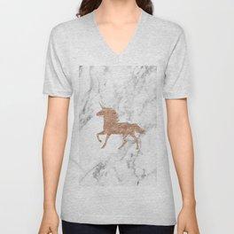 Rose gold unicorn on marble Unisex V-Neck