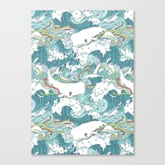 Whales and waves pattern Canvas Print