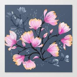 Pink Watercolor Magnolia Melancholy Floral Pattern Canvas Print