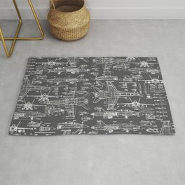 F-18 Blueprints // Charcoal-Grey Rug