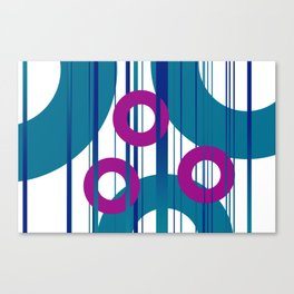 Three Rings pink with turquoise background Canvas Print