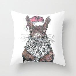 Santa Squirrel Throw Pillow