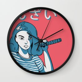 Determined Girl Holding a Katana Asian Comic Style Wall Clock